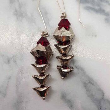 Vertebrae Sterling Silver and Swarovski Crystal Drop Earrings by Corinne Lomon