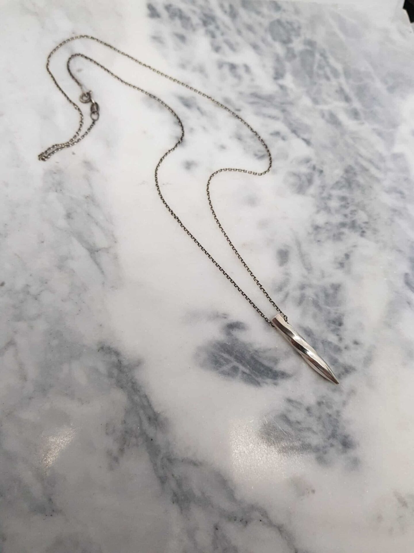 Sterling Silver Water Twist Pendant On Trace Chain By Corinne Lomon
