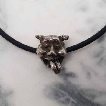 gargoyle-sculptural-pendant-on-neoprene-necklace-by-corinne-lomon-by-corinnelomon