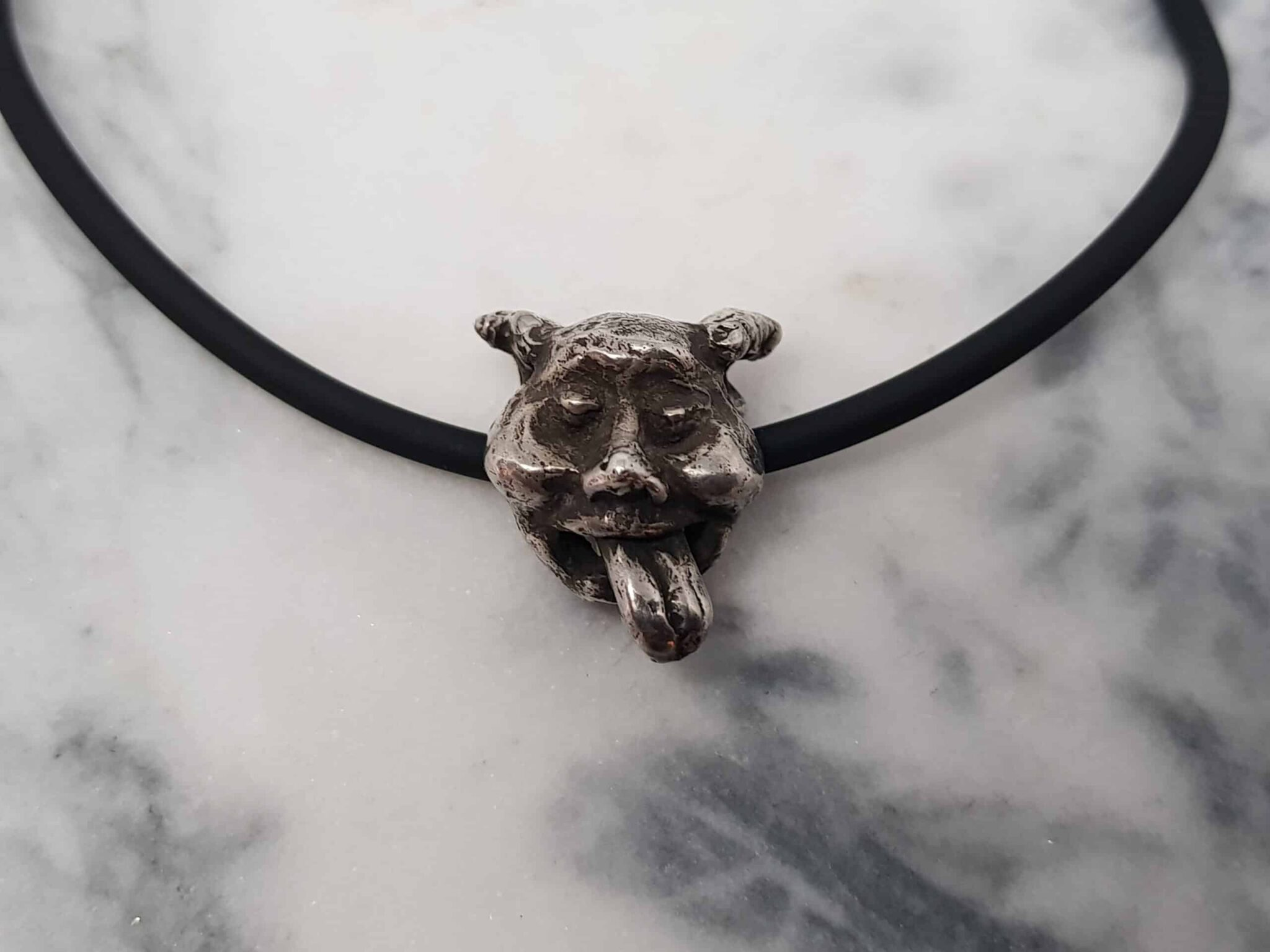 Gargoyle Sculptural Pendant On Neoprene Necklace By Corinne Lomon