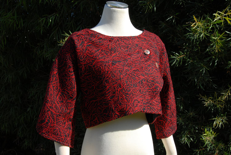 Black And Red Wool Blend Bolero By Jezenya Designs