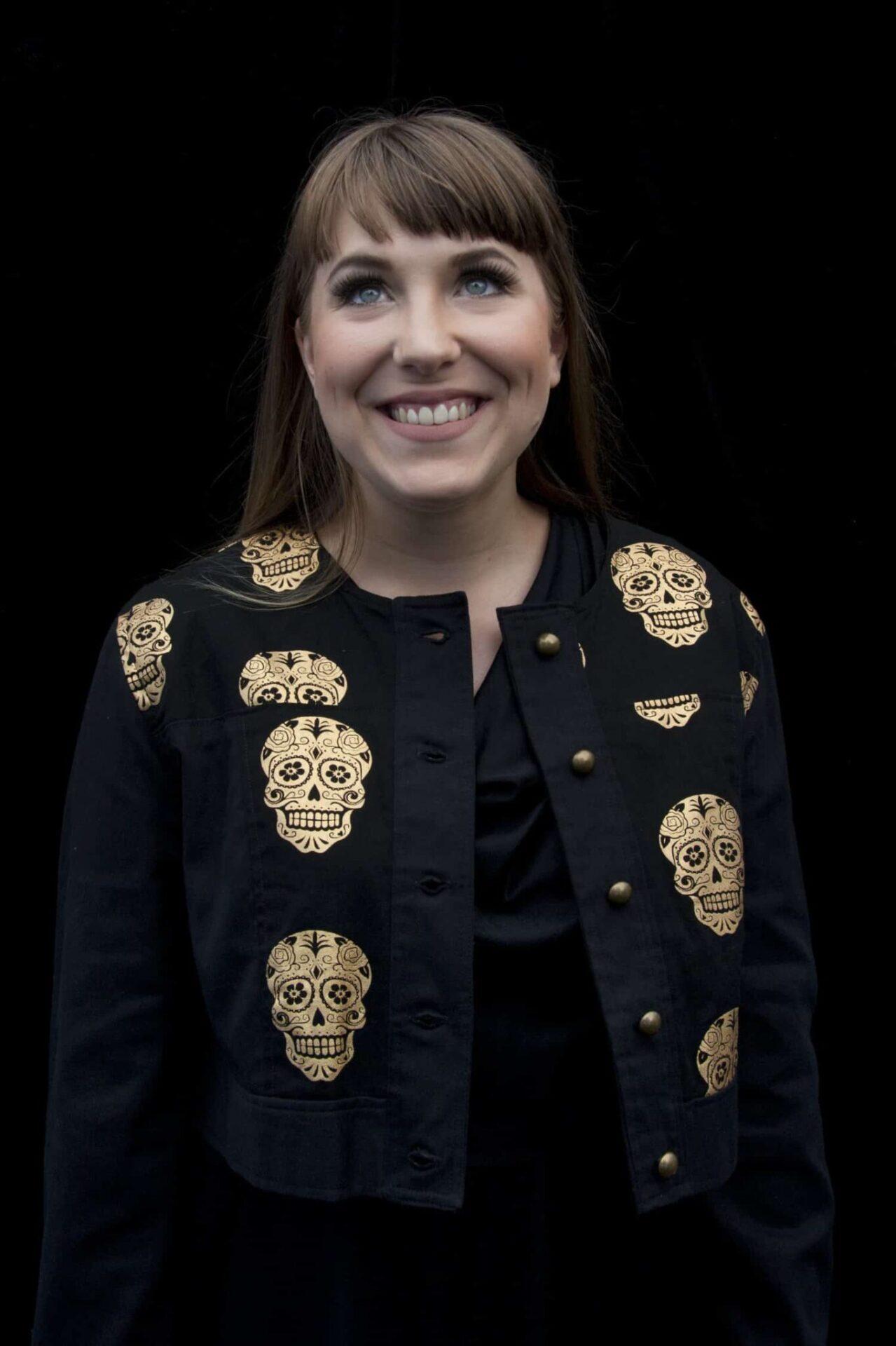 Black And Gold Skull Print Bomber Jacket By Jezenya Designs