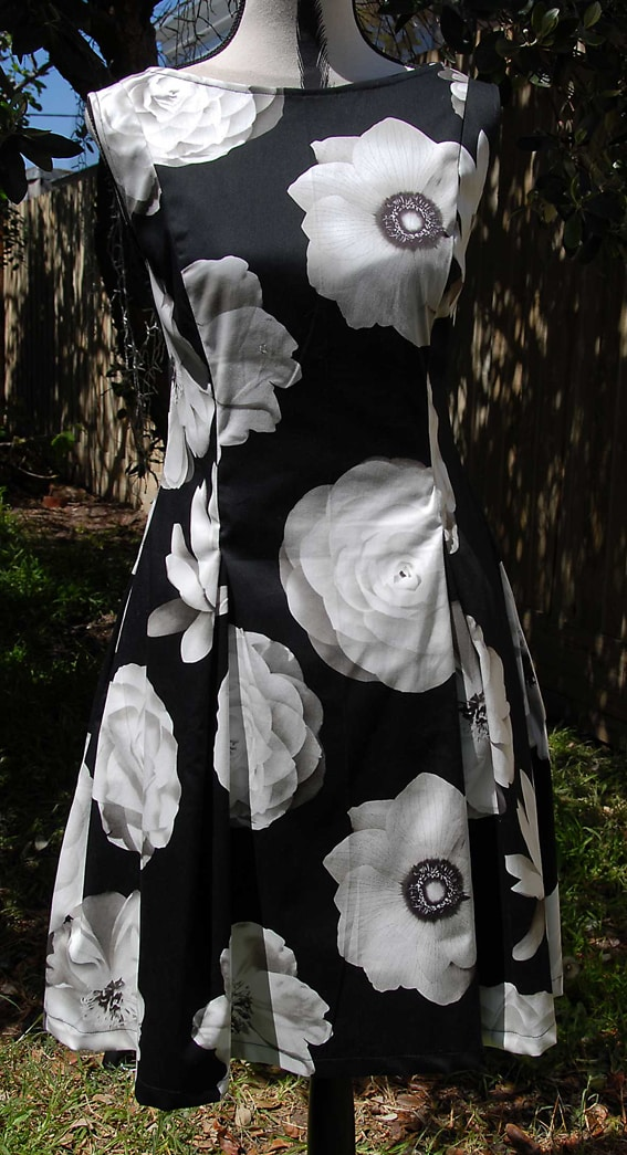 Black Cotton Sateen With Cream Flowers Dress By Jezenya Designs