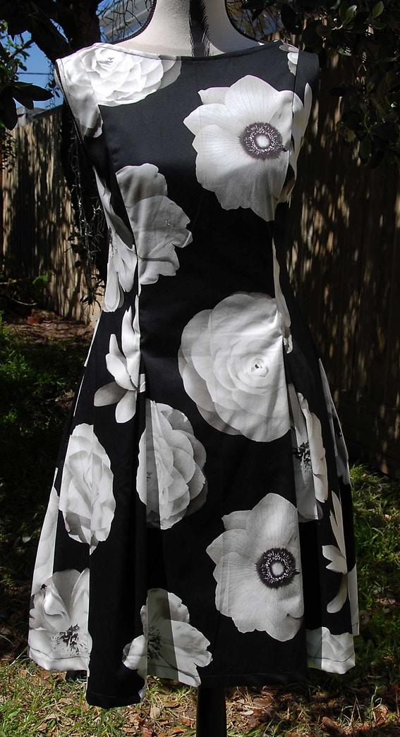 Black Cotton Sateen With Cream Flowers Dress By Jezenya Designs