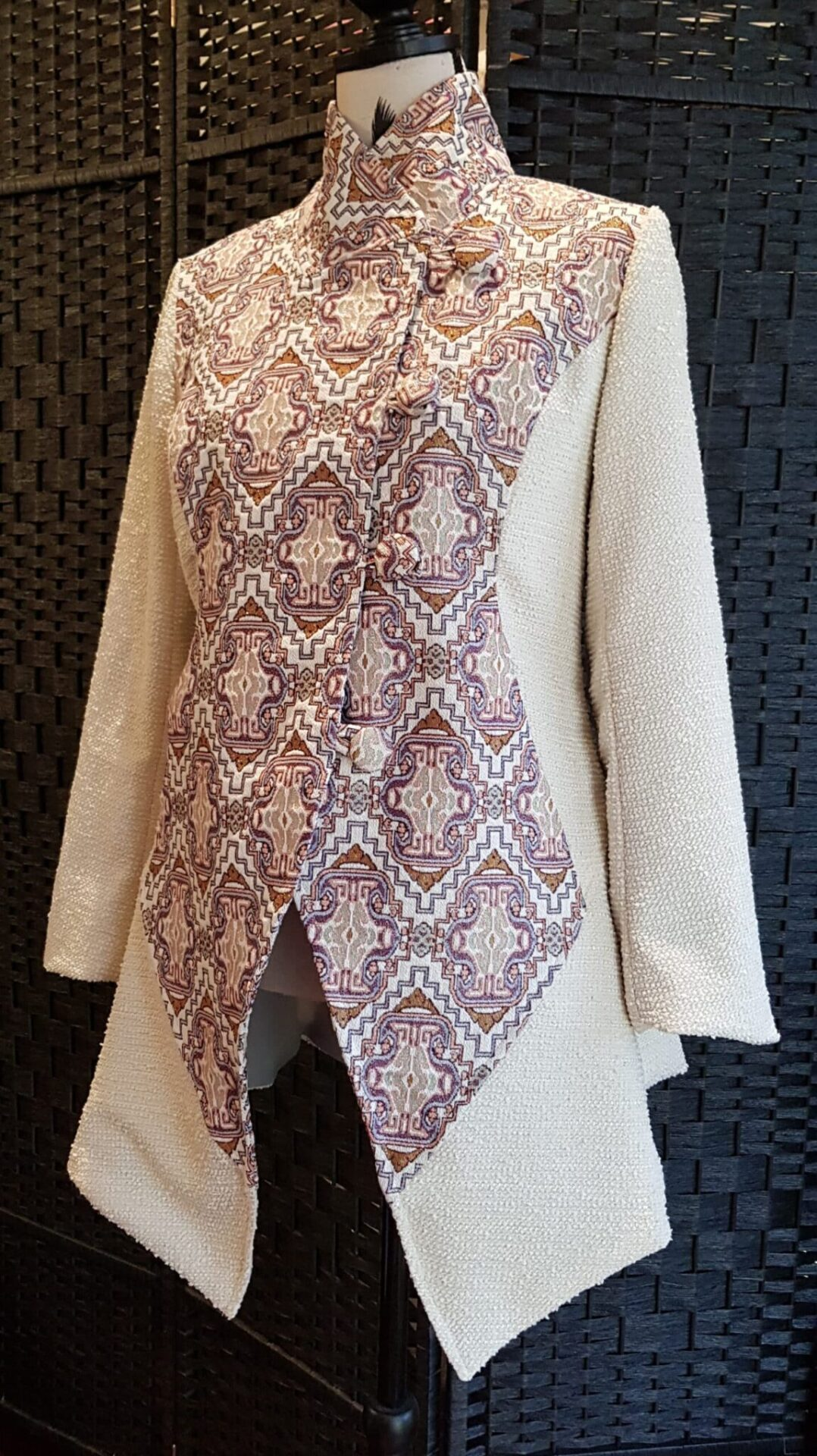 Cream Boucle Jacket With Brocade By Jezenya Designs