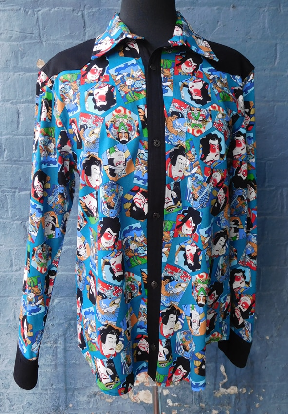 Japanese Kabuki Print Mens Shirt By Jezenya Designs