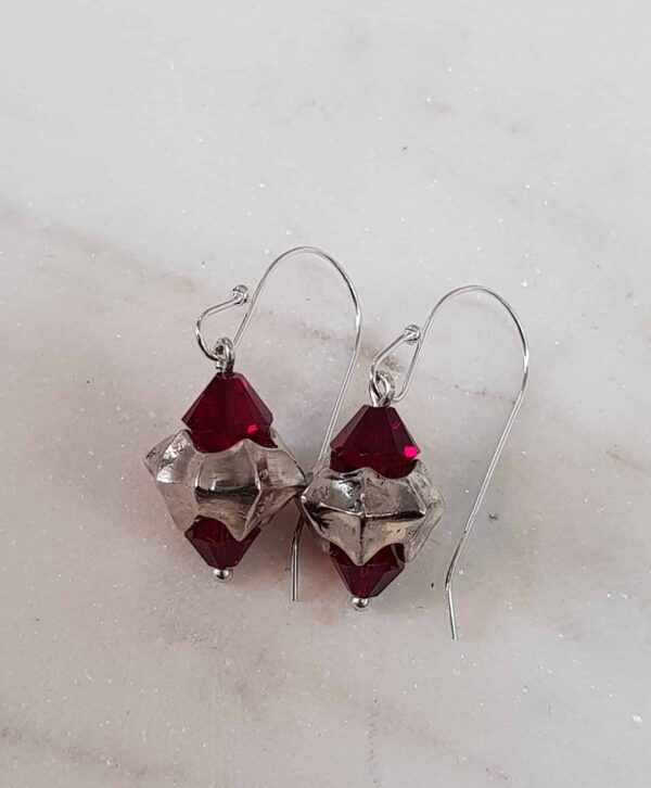 stirling-silver-giger-drop-earrings-with-red-swarovski-by-corinne-lomon-by-corinnelomon