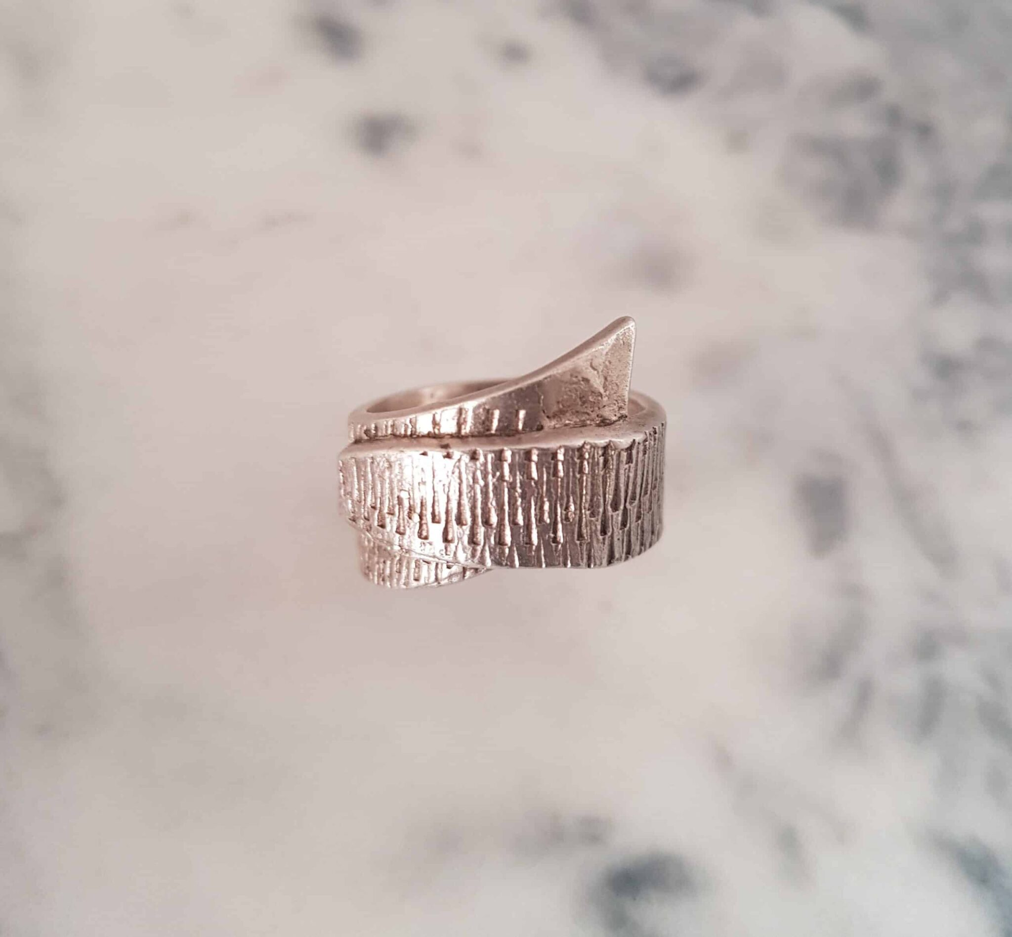 Simple Textured Wrapped Ring Size O By Corinne Lomon