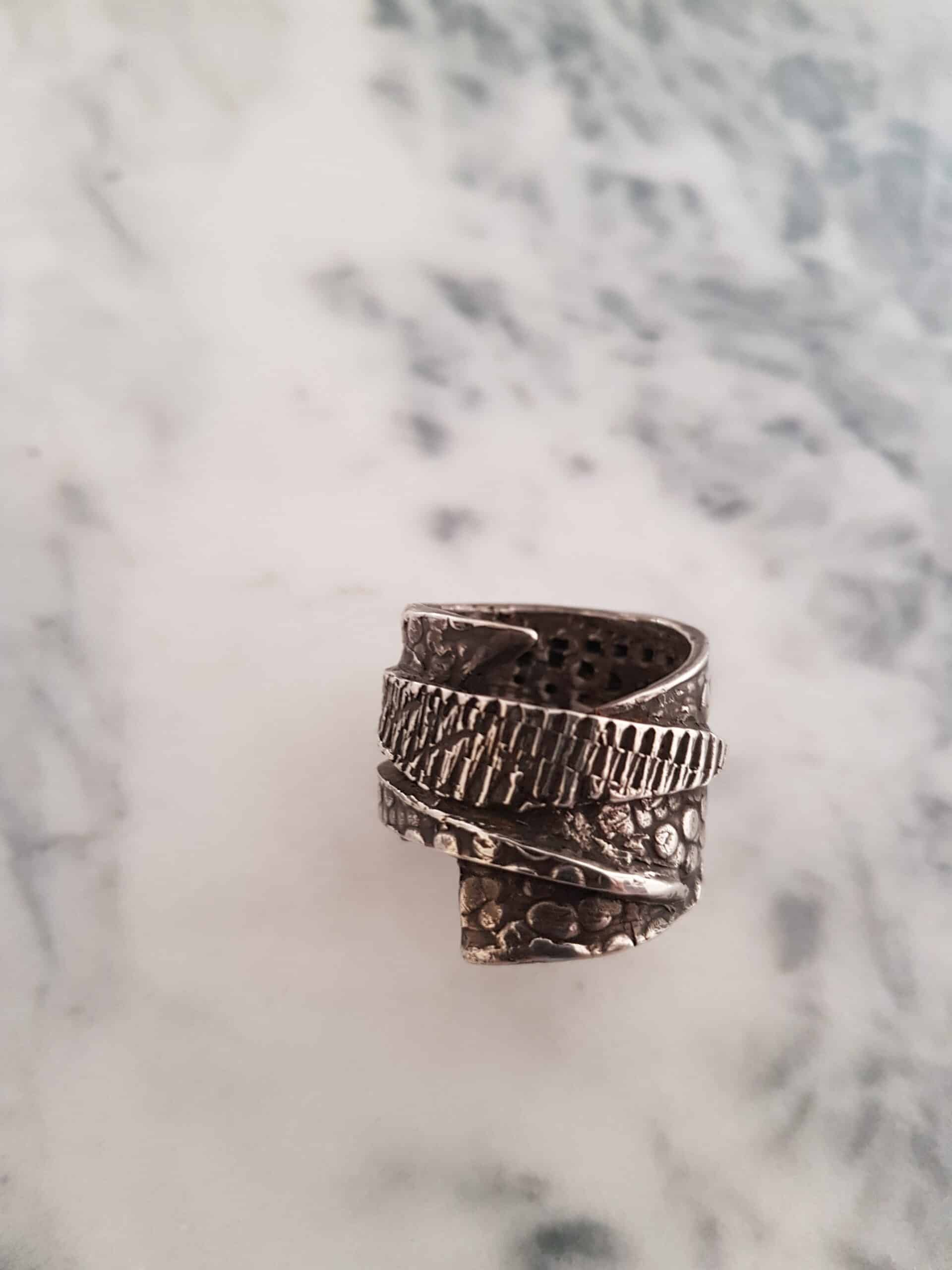 Size U Layered Textured Ring By Corinne Lomon