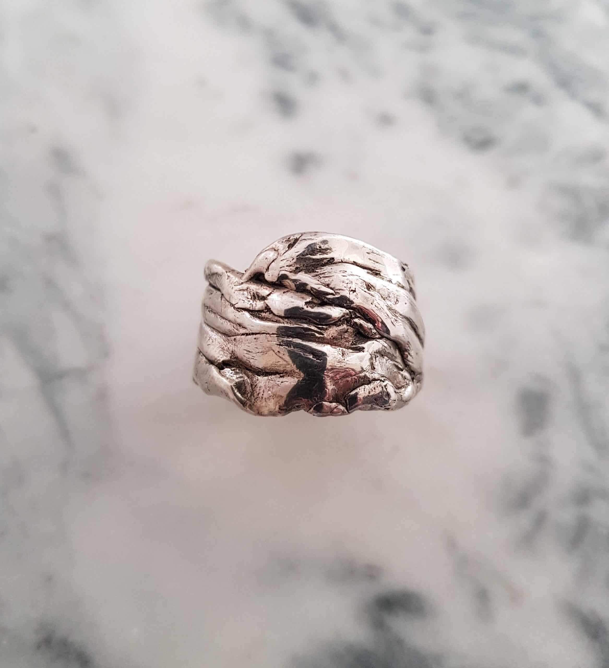 Size Z Crumpled Silver Ring By Corinne Lomon