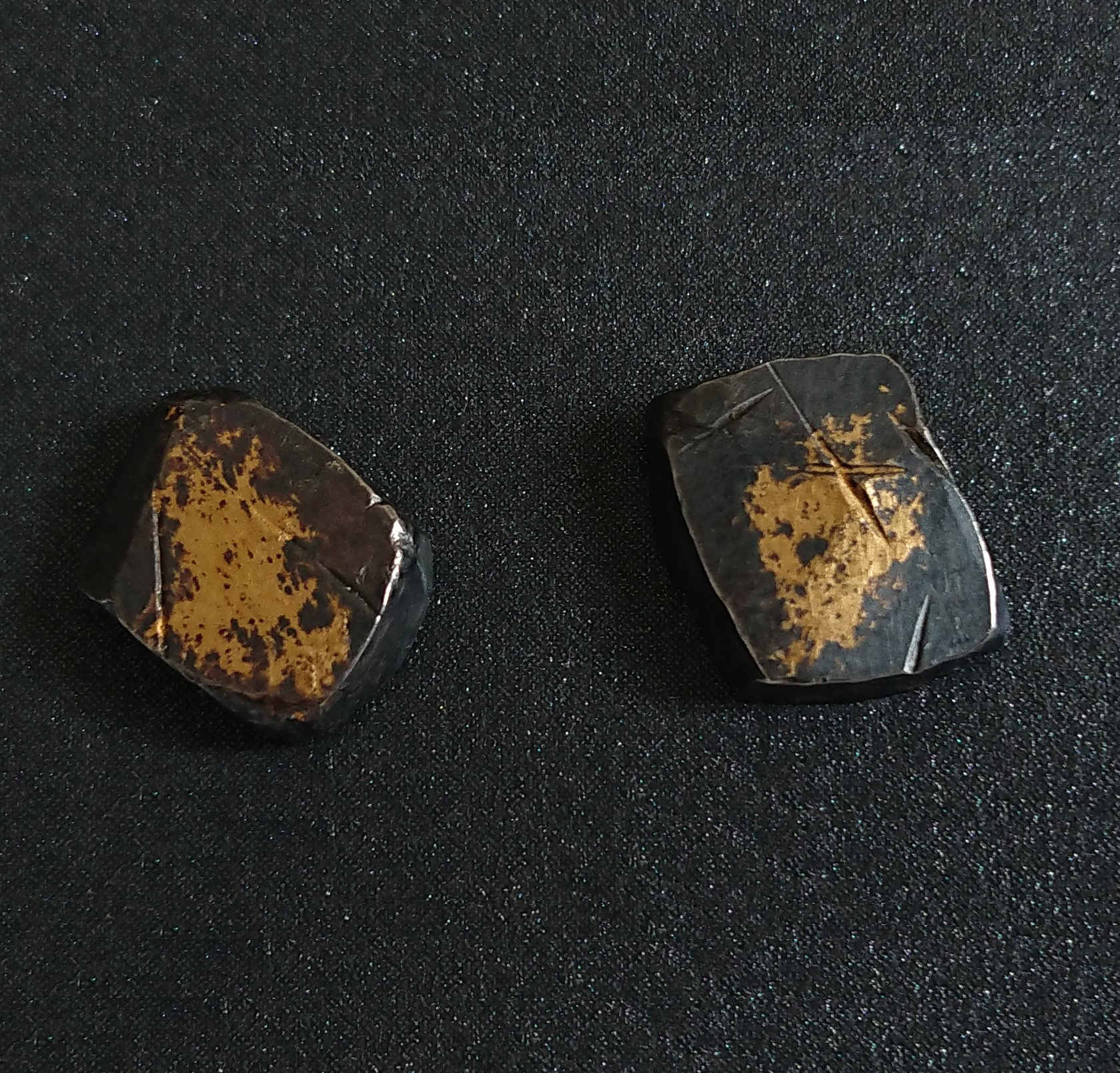 Square Sterling Silver Stud Earring Pair, 24ct Gold Foil And Oxidized By R-Process