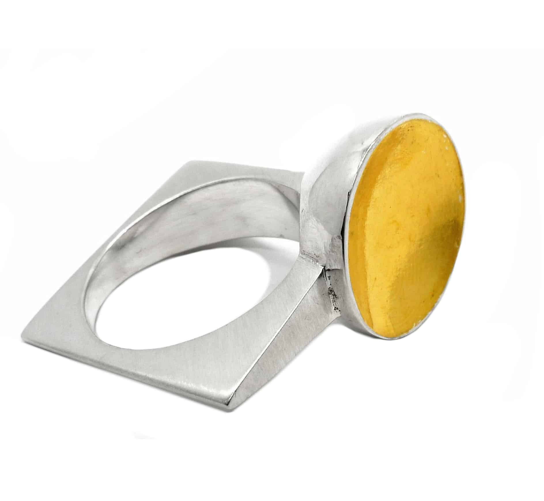 Tamaya Ring, Size M, Sterling Silver Ring With 24 Carat Gold Foil, By R-Process
