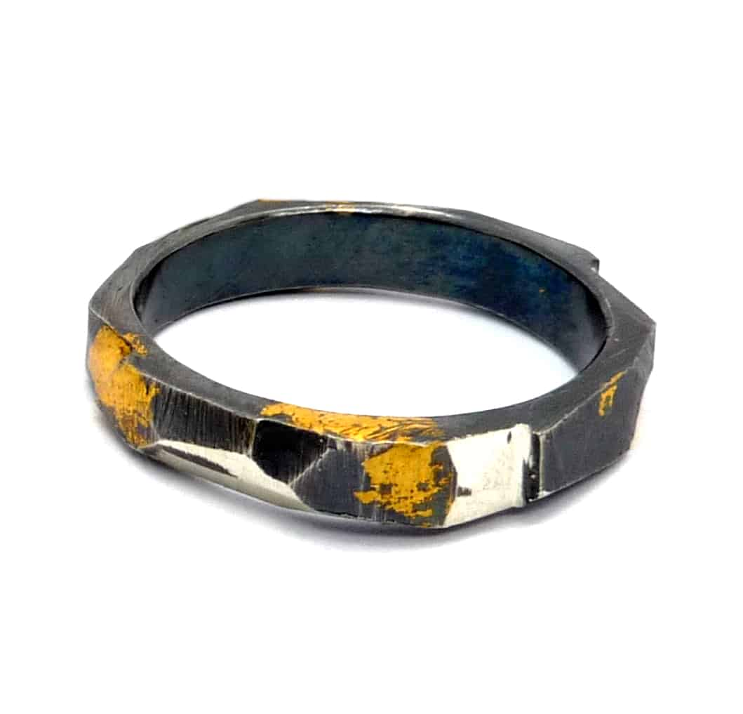 Triadic Ring, Narrow, Sterling Silver With 24ct Gold Keum-boo And Oxidised, Size Q By R-Process