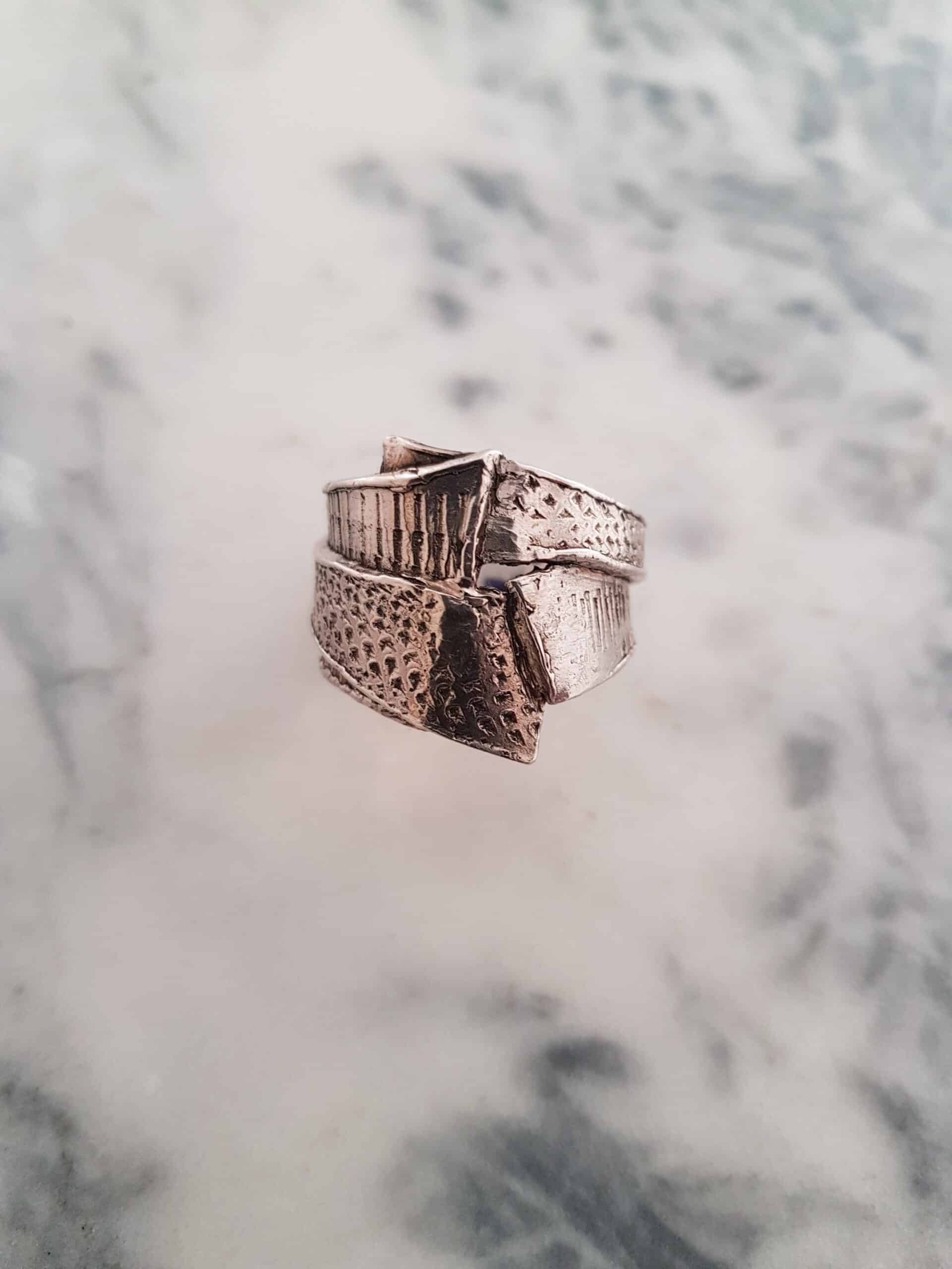 Size X Wrapped Layered Textured Ring By Corinne Lomon
