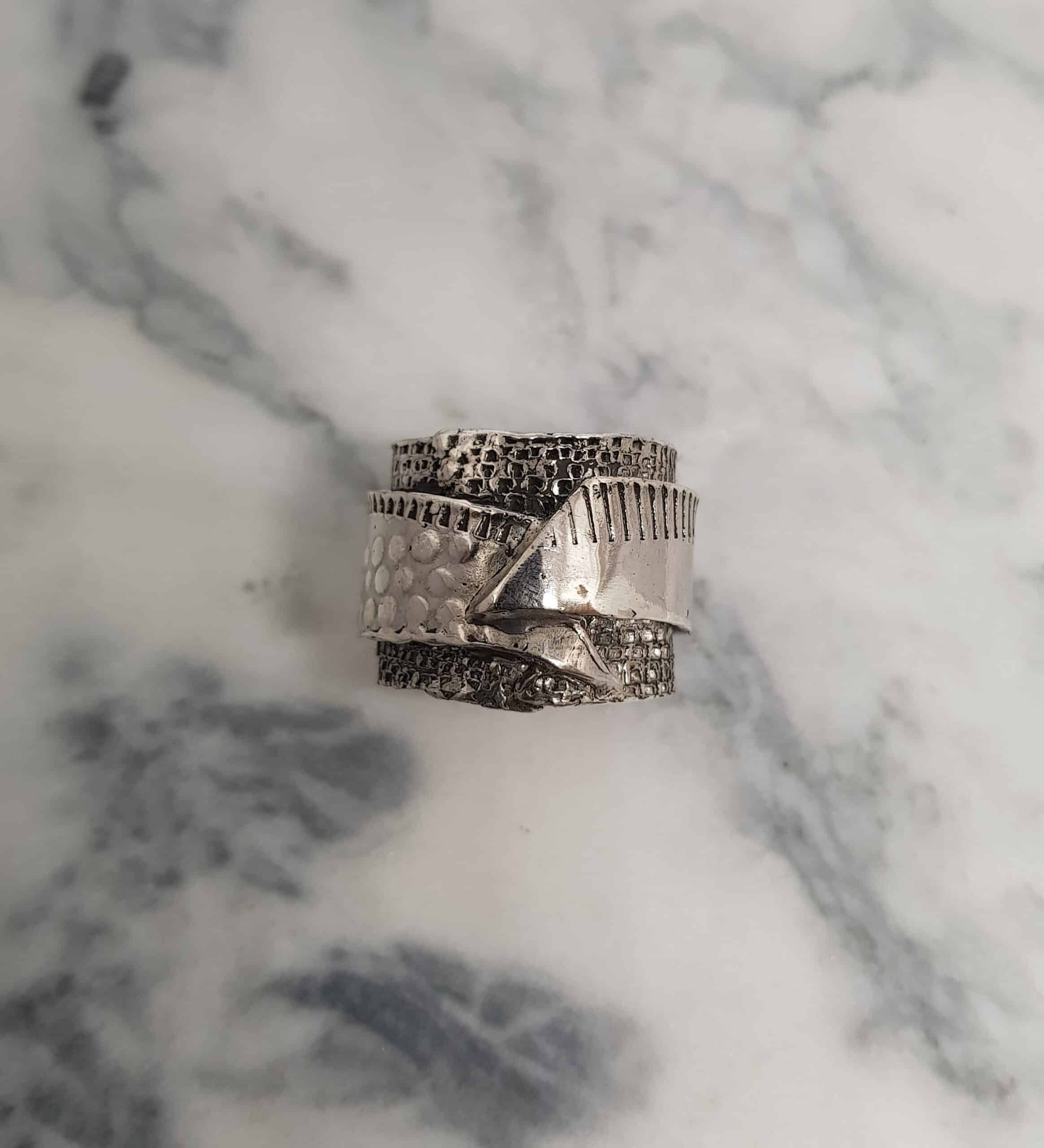 Size Y Wrapped Layered Textured Ring By Corinne Lomon