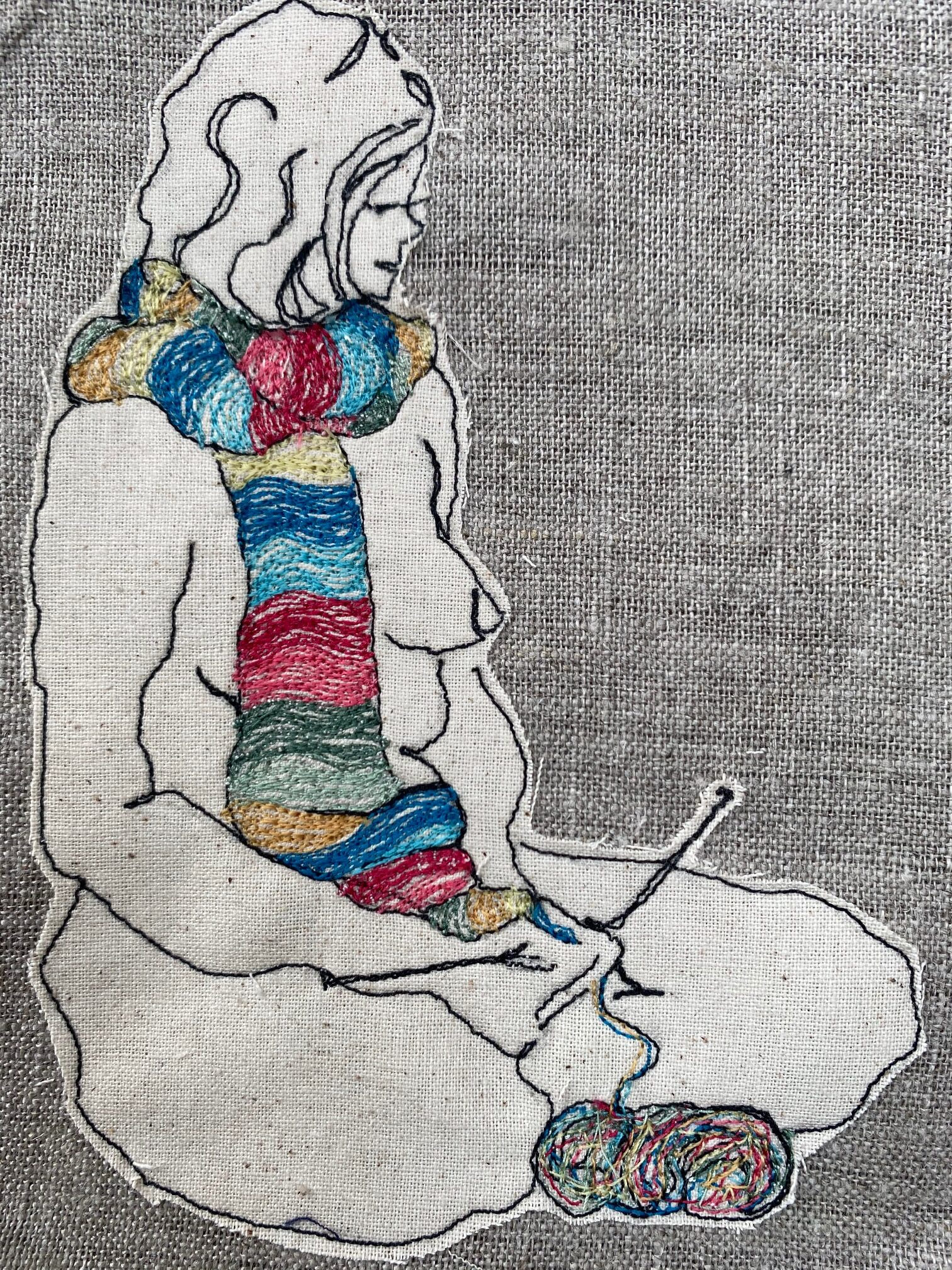 The Knitter,  Original Textile Artwork By  Juliet D Collins (Prahran)