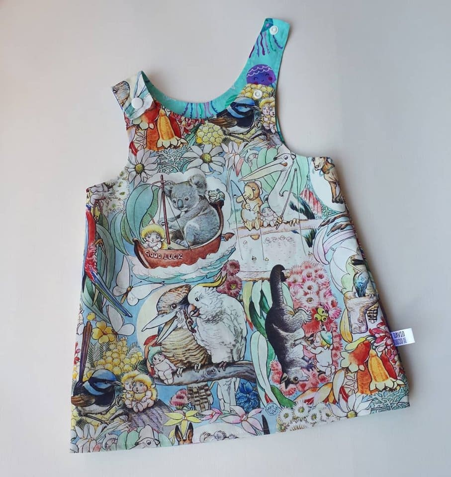 Children's Size 000 Reversible Pinafore Dress – Mays Tale Grey And Blue Floral Liberty Of London By St David Studio 3065