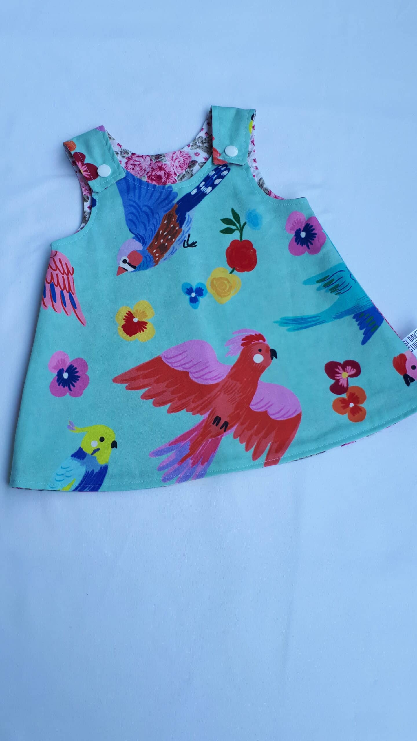 Children's Size 000 Reversible Pinafore Dress – Blue Birds And Pink Roses By St David Studio 3065