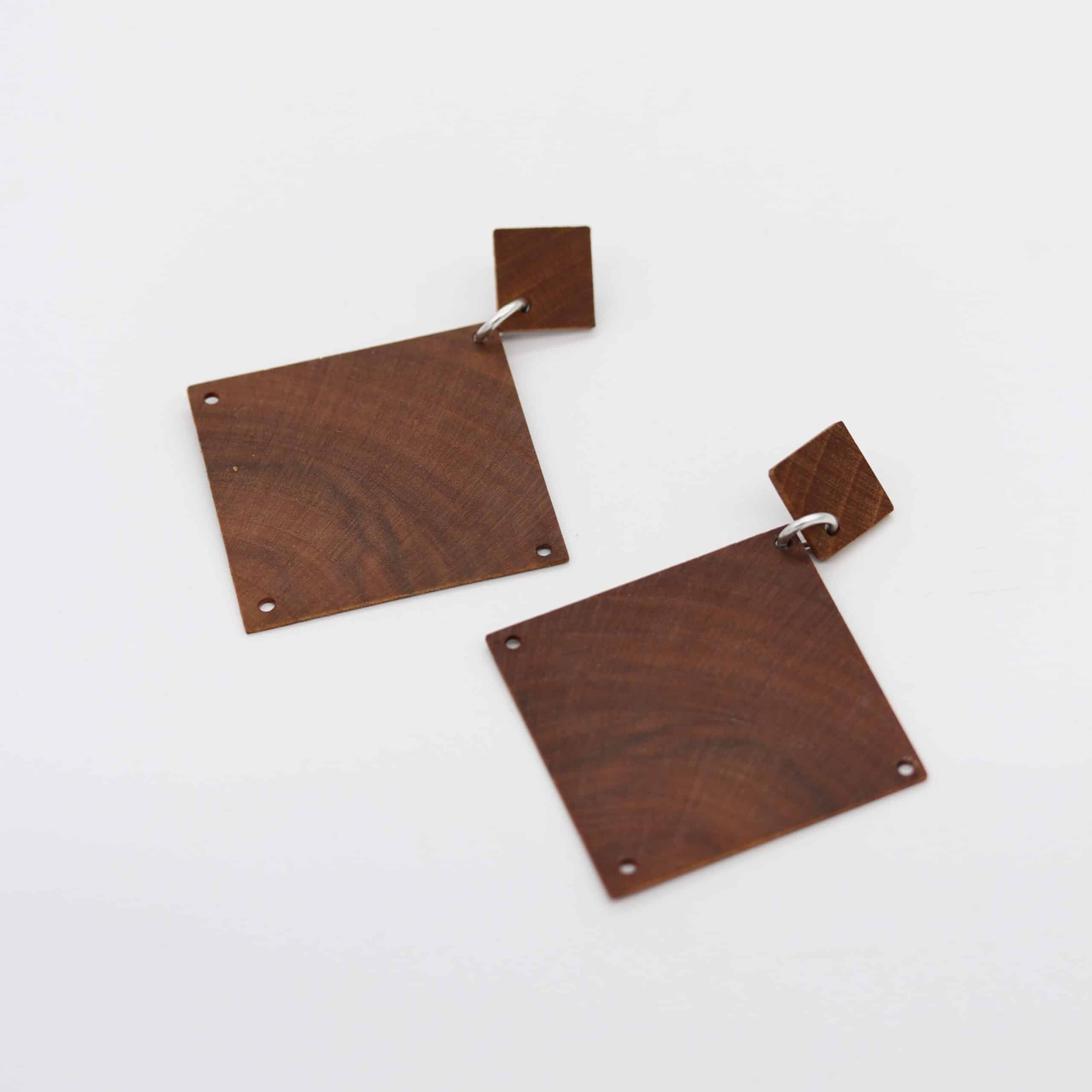 Recycled Timber Earrings – Large Squares By CO'B By Design
