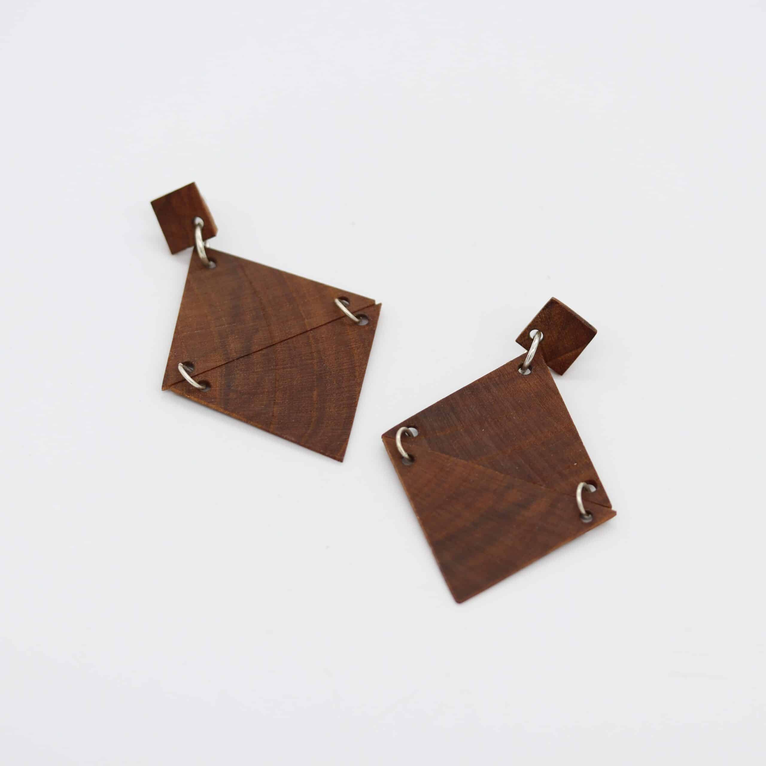 Recycled Timber Earrings – Double Triangle By CO'B By Design