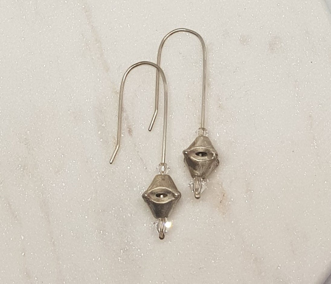 Earrings Long Drop With Soldered Split Bead And Clear Swarovski By Corinne Lomon