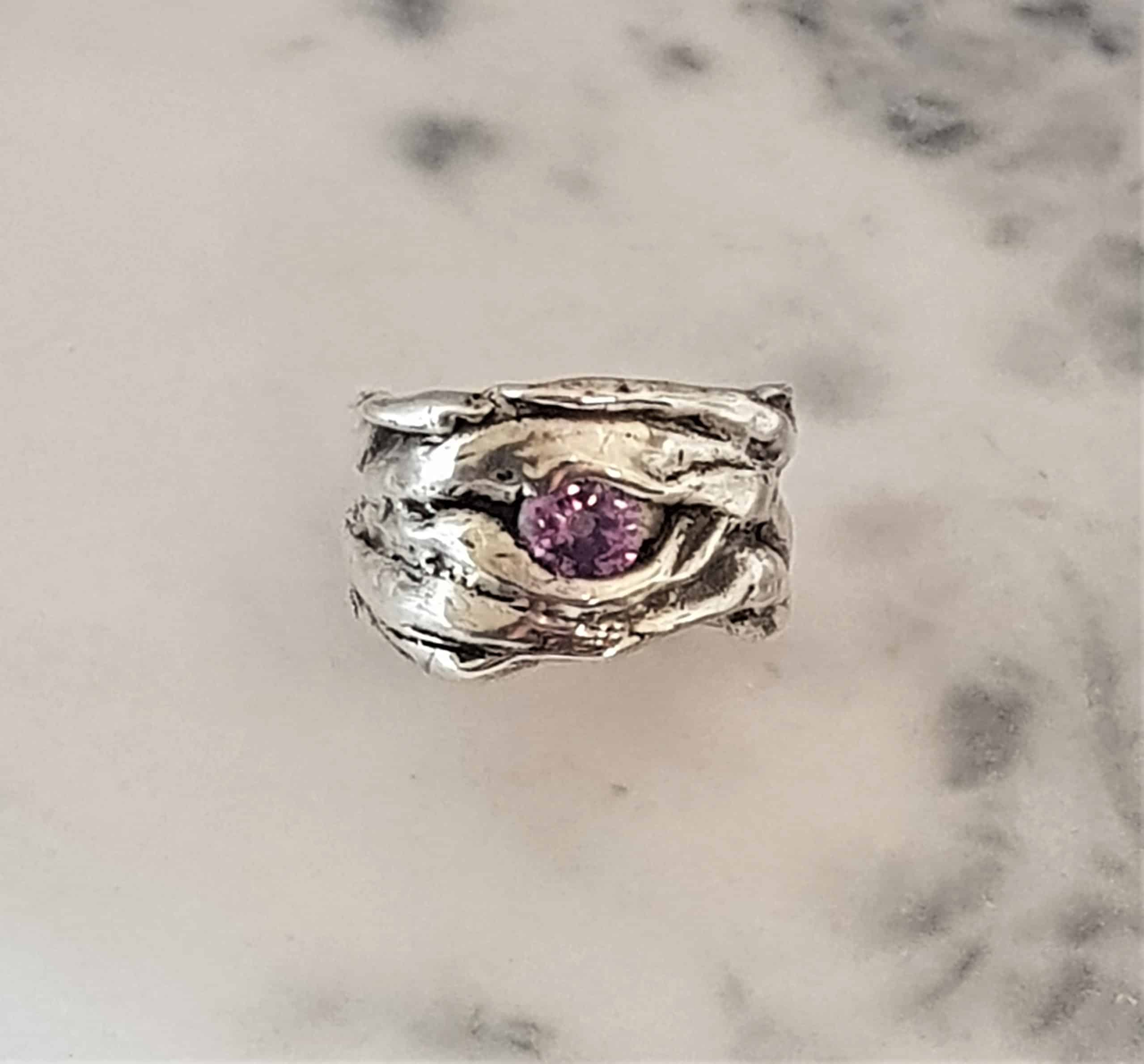 Size Q Crumpled Texture Ring With Lab Alexandrite- By Corinne Lomon