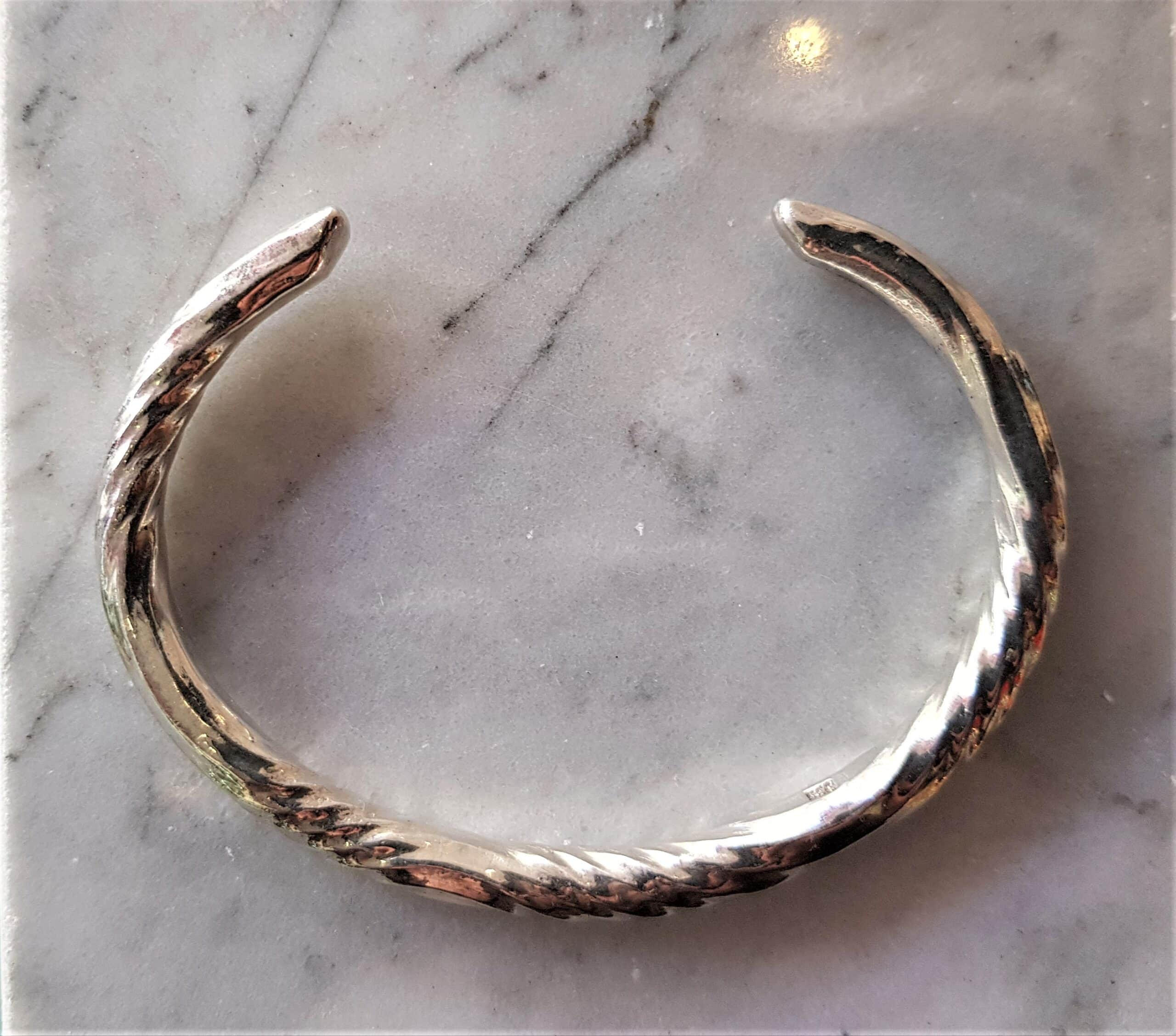 Polished Sterling Silver Forged Water Twist Clutch Bangle By Corinne Lomon