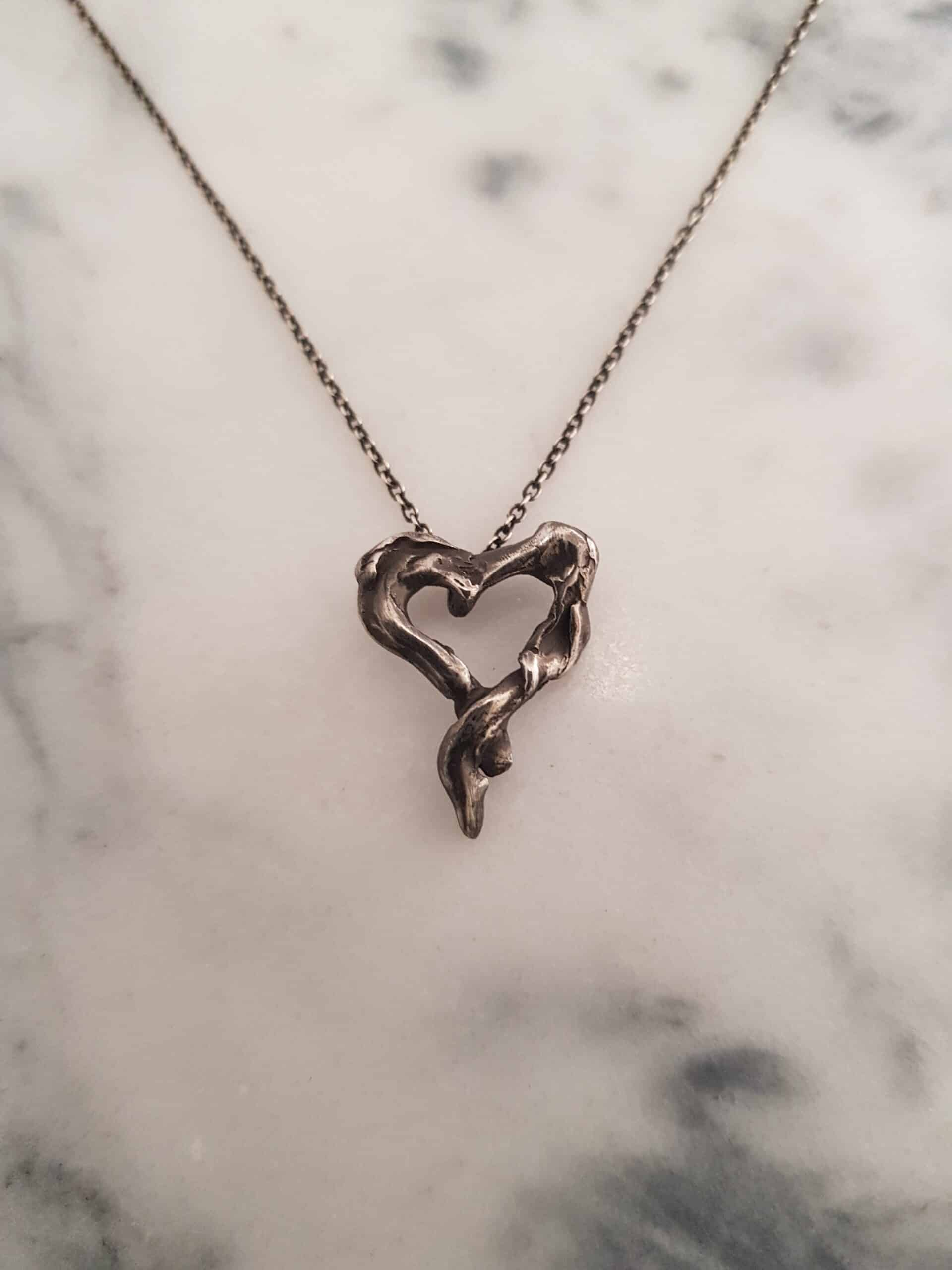 Oxidized Twisted Silver Heart Pendant By Corinne Lomon