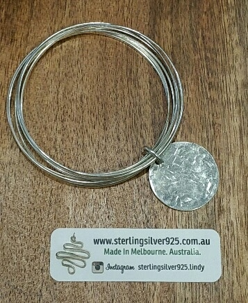 Silver Multi-Stacker Bangle With Hammered Disc Charm -by Sterling Silver 925
