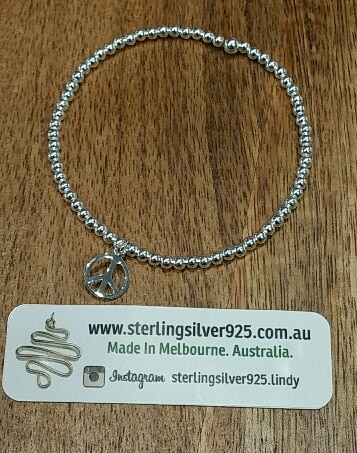 Silver Ball Stretch Elastic Bracelet With Silver PEACE Symbol Charm – By Sterling Silver 925