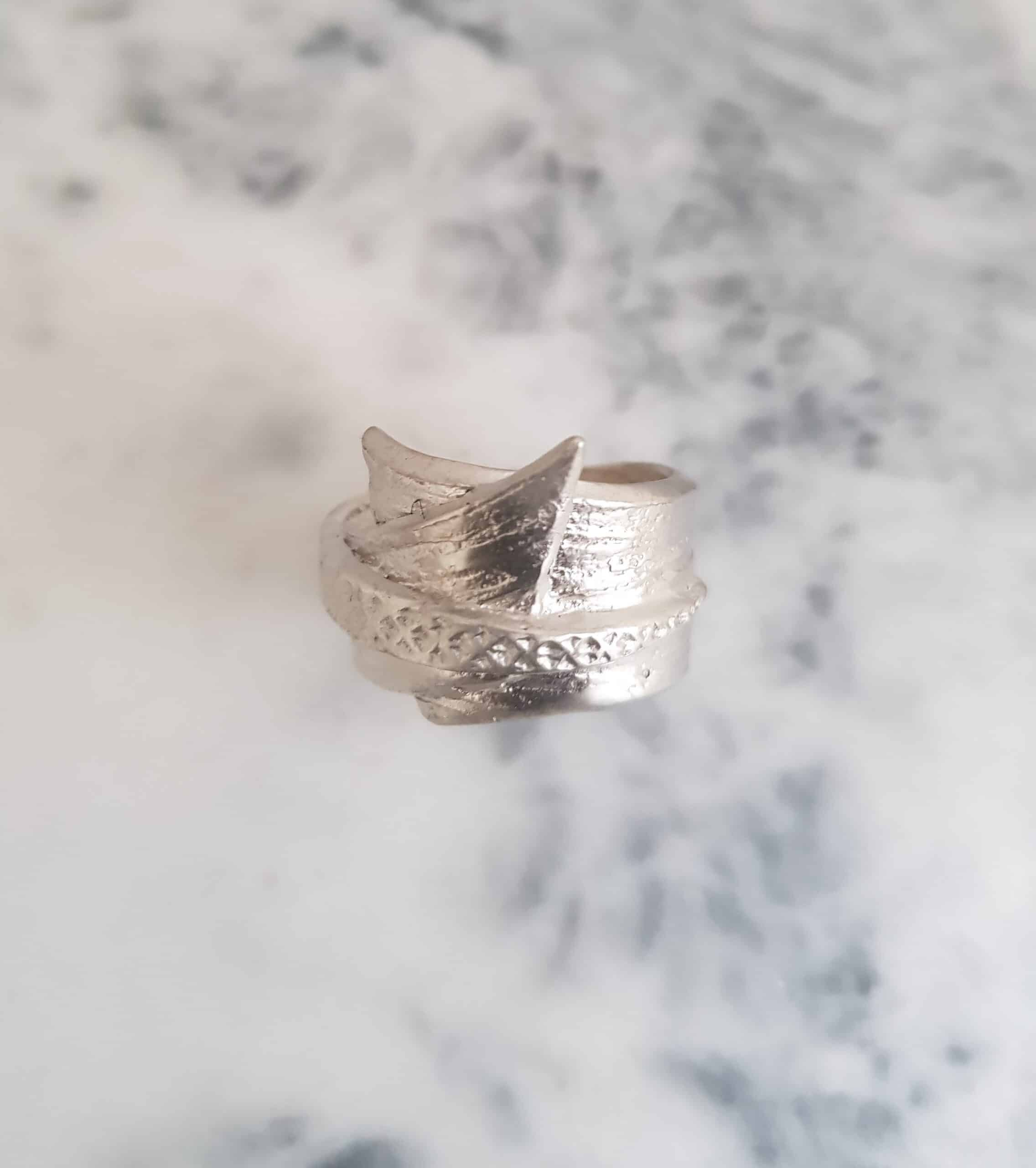 Textured Silver Wrapped Ring By Corinne Lomon