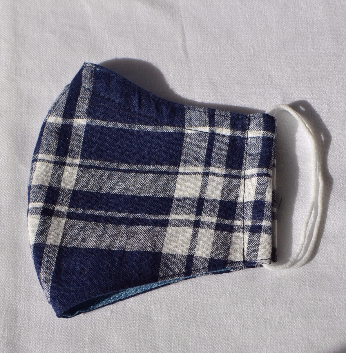 Face Mask (Navy Check) Made From Natural Fabrics By à Pois