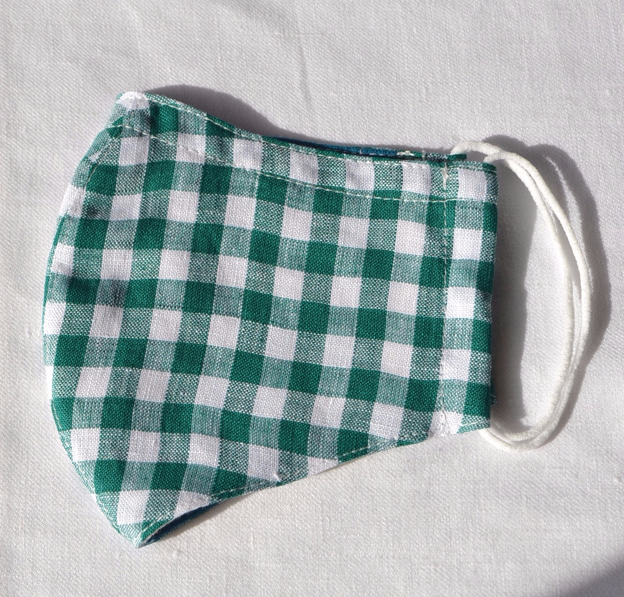 Face Mask (Green Check) Made From Natural Fabrics By à Pois