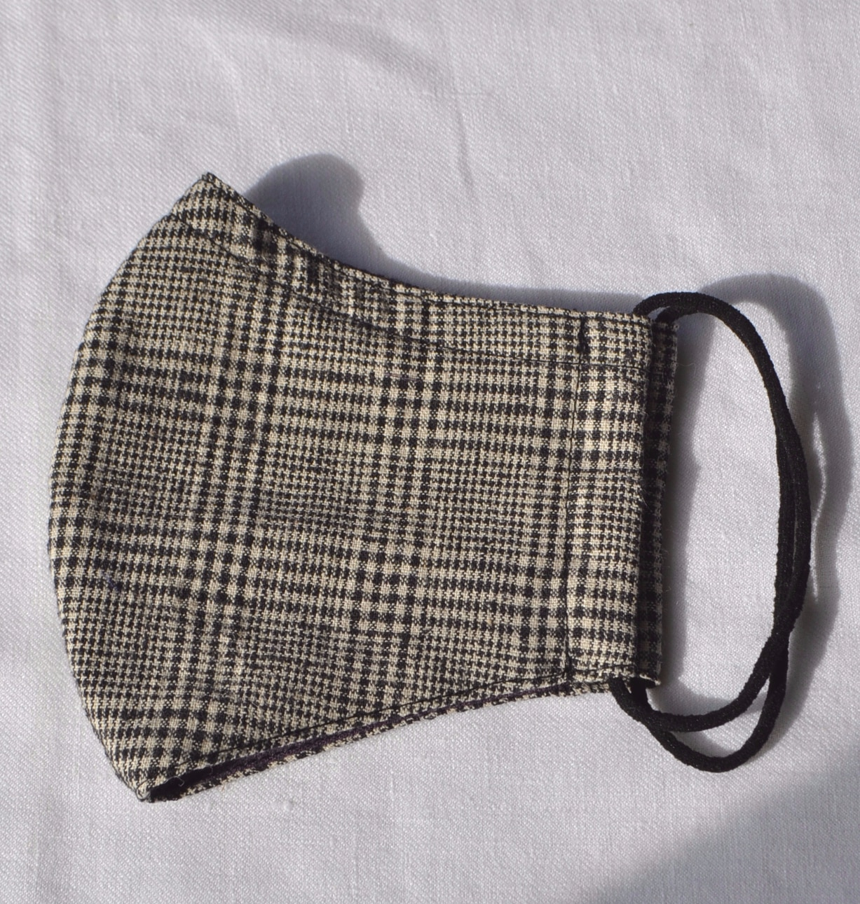Face Mask (Glen Check) Made From Natural Fabrics By à Pois