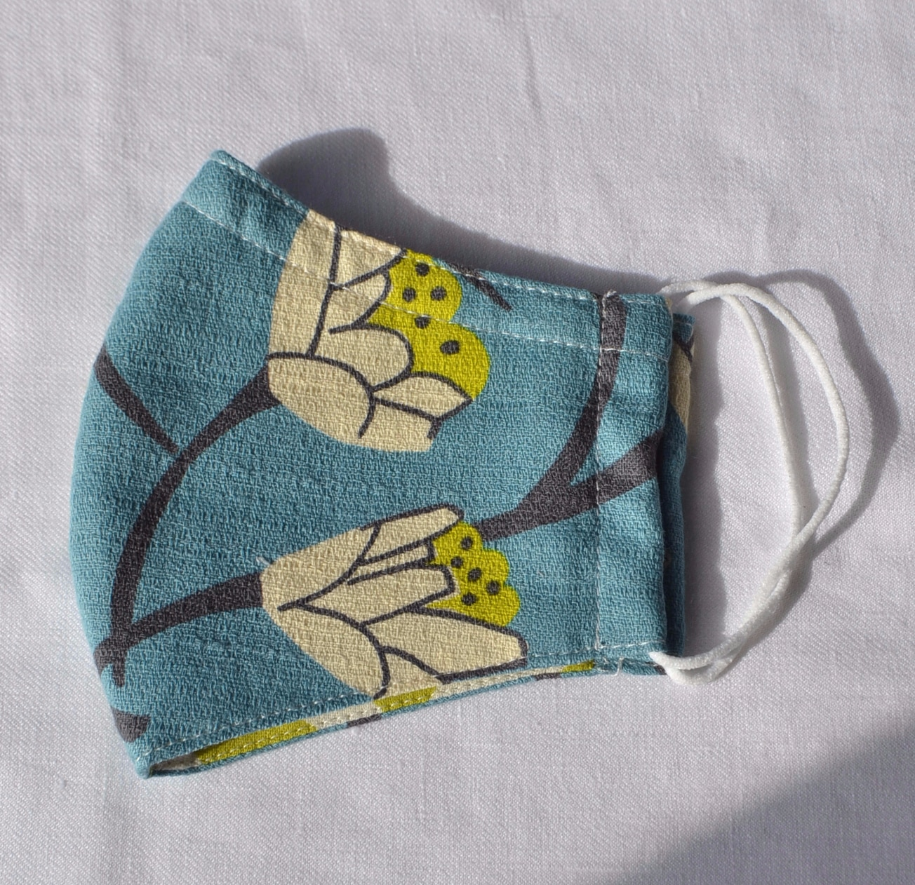 Face Mask (Blue Flora) Made From Natural Fabrics By à Pois