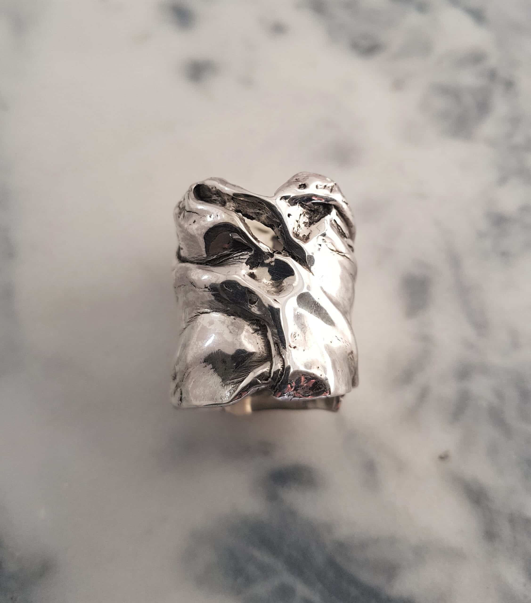 Wide Crumpled Silver Ring By Corinne Lomon