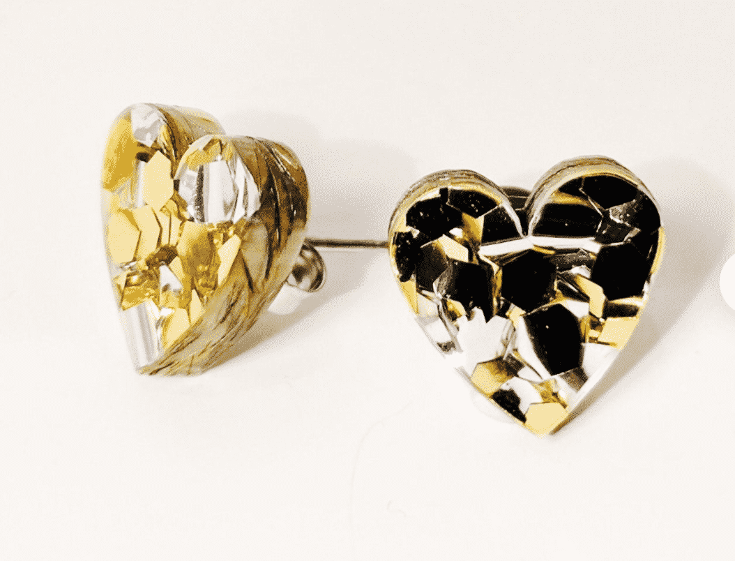 Heart Gold & Silver Glitter Acrylic Studs  By Kate And Rose (Fitzroy) $14.95