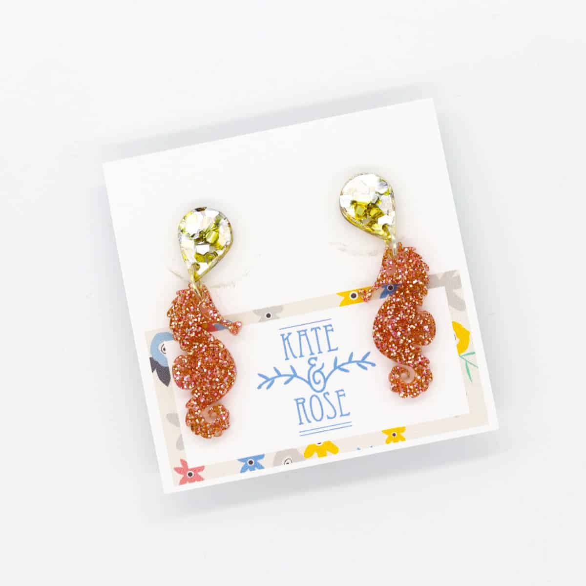 Sparkly Seahorse Earrings On A Glittery Gold Post By Kate And Rose (Fitzroy)