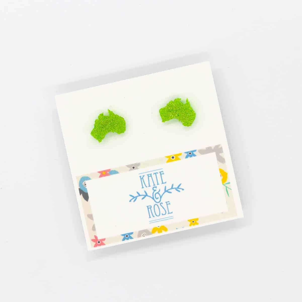 Lime Glitter Aussie Map Studs  By Kate And Rose (Fitzroy) $14.95