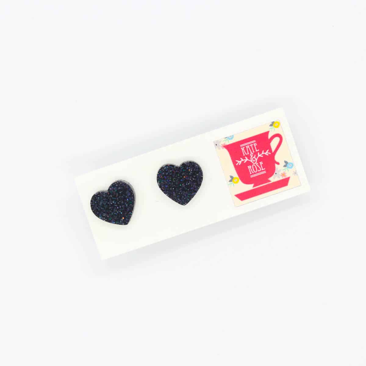Black Acrylic Glitter Heart Studs Earrings By Kate And Rose $14.95