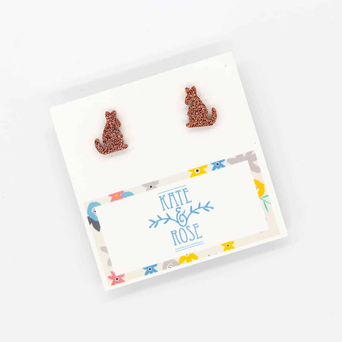 Bronze Acrylic Kangaroo Earrings By Kate And Rose $14.95