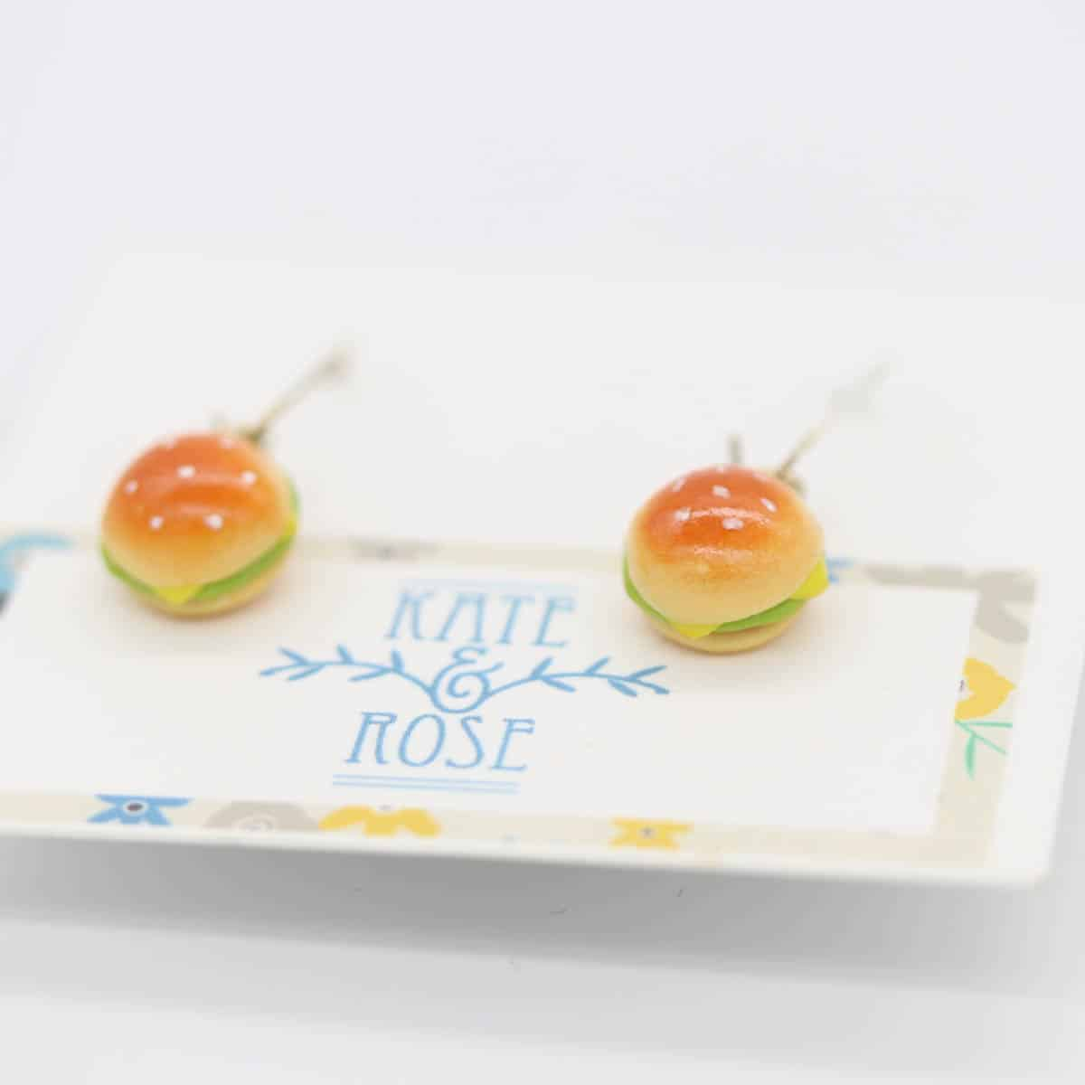 Burger Earrings  (drops) By Kate And Rose (Fitzroy) – $19.95