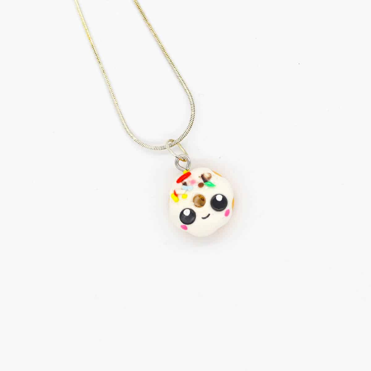 Donut White Happy Necklace By Kate And Rose (Fitzroy) $25