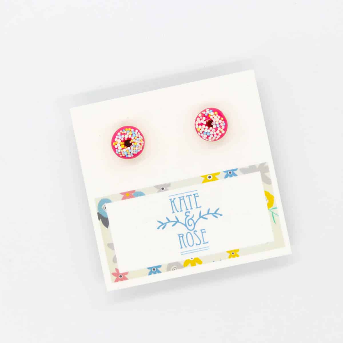 Pink Sprinkle Donut Earrings By Kate And Rose $14.95