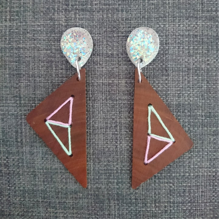 Recycled Timber Earrings – Large Triangle With Sparkle Stud By CO'B By Design