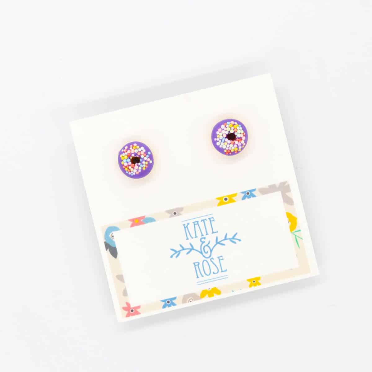 Purple Sprinkle Donut Earrings By Kate And Rose $14.95