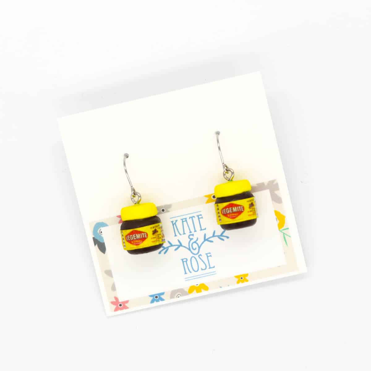 Vegemite Drop Earrings By Kate And Rose (Fitzroy)