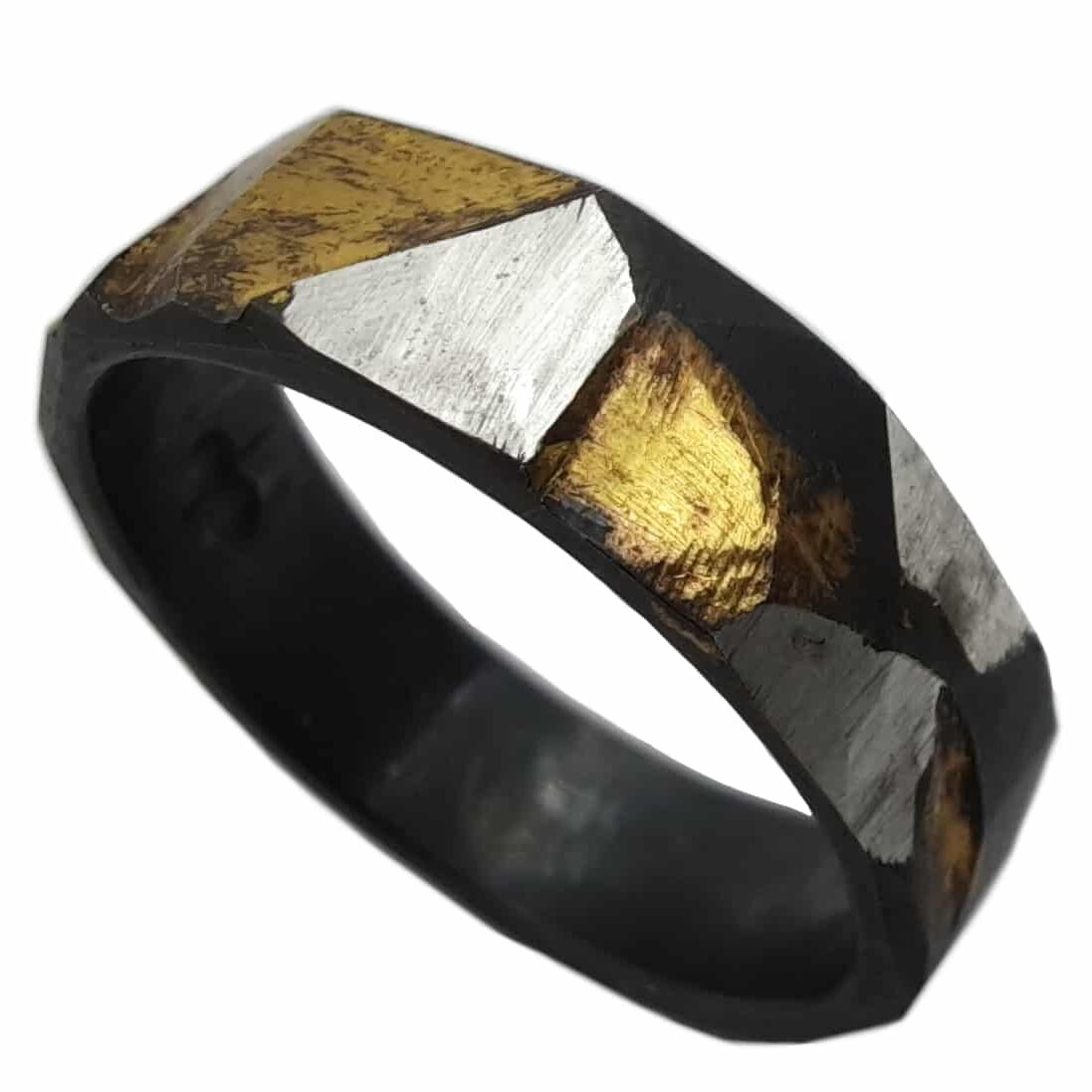 Triadic Ring, Sterling Silver With Keum-boo And Oxidised, Size V By R-Process
