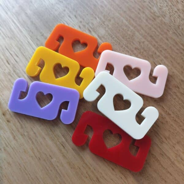 mask clips for ears - heart 6 pack
