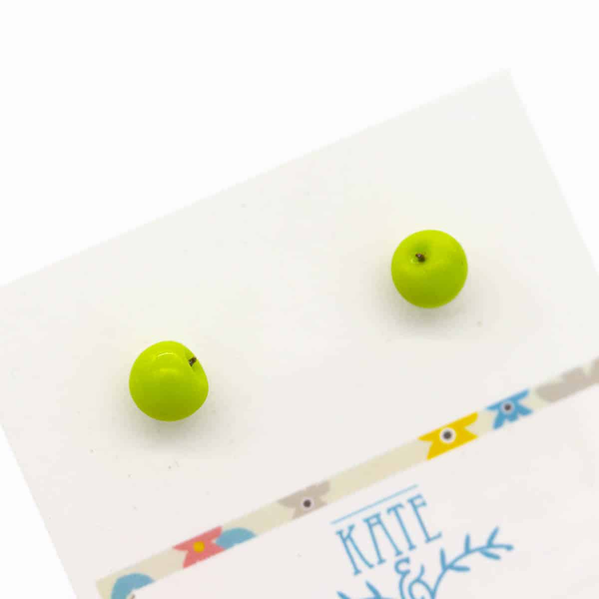 Green Apple (large Studs) Earrings By Kate And Rose